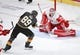 Mar 23, 2019; Las Vegas, NV, USA; Detroit Red Wings goaltender Jimmy Howard (35) makes a second period save against Vegas Golden Knights right wing Alex Tuch (89) at T-Mobile Arena. Mandatory Credit: Stephen R. Sylvanie-USA TODAY Sports