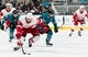 Mar 25, 2019; San Jose, CA, USA; Detroit Red Wings center Andreas Athanasiou (72) dribbles the puck against the San Jose Sharks in the first period at SAP Center at San Jose. Mandatory Credit: John Hefti-USA TODAY Sports