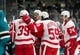Mar 25, 2019; San Jose, CA, USA; Detroit Red Wings center Dylan Larkin (71) celebrates after scoring a goal in the first minute against San Jose Sharks in the first period at SAP Center at San Jose. Mandatory Credit: John Hefti-USA TODAY Sports
