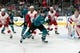 Mar 25, 2019; San Jose, CA, USA; San Jose Sharks center Logan Couture (39) passes against the Detroit Red Wings in the second period at SAP Center at San Jose. Mandatory Credit: John Hefti-USA TODAY Sports