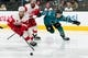 Mar 25, 2019; San Jose, CA, USA; Detroit Red Wings defenseman Niklas Kronwall (55) and San Jose Sharks right wing Timo Meier (28) battle for possession in the second period at SAP Center at San Jose. Mandatory Credit: John Hefti-USA TODAY Sports