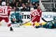 Mar 25, 2019; San Jose, CA, USA; Detroit Red Wings center Andreas Athanasiou (72) shoots and scores a goal against San Jose Sharks goaltender Martin Jones (31) in the second period at SAP Center at San Jose. Mandatory Credit: John Hefti-USA TODAY Sports