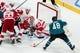 Mar 25, 2019; San Jose, CA, USA; San Jose Sharks center Tomas Hertl (48) shoots and scores a goal against Detroit Red Wings goaltender Jonathan Bernier (45) in the third period at SAP Center at San Jose. Mandatory Credit: John Hefti-USA TODAY Sports