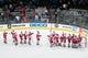 Mar 25, 2019; San Jose, CA, USA; The Detroit Red Wings celebrate their win over the San Jose Sharks at SAP Center at San Jose. Mandatory Credit: John Hefti-USA TODAY Sports