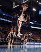 Mar 21, 2019; Salt Lake City, UT, USA; Gonzaga Bulldogs forward Killian Tillie (33) dunks the ball against Fairleigh Dickinson Knights forward Elyjah Williams (21) and forward Kaleb Bishop (12) in the first round of the 2019 NCAA Tournament at Vivint Smart Home Arena  Gonzaga defeated Farleigh Dickinson 87-49. Mandatory Credit: Kirby Lee-USA TODAY Sports