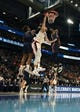 Mar 21, 2019; Salt Lake City, UT, USA; Gonzaga Bulldogs forward Killian Tillie (33) dunks the ball against Fairleigh Dickinson Knights forward Elyjah Williams (21) and forward Kaleb Bishop (12) in the first round of the 2019 NCAA Tournament at Vivint Smart Home Arena. Gonzaga defeated Farleigh Dickinson 87-49. Mandatory Credit: Kirby Lee-USA TODAY Sports