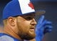Mar 28, 2019; Toronto, Ontario, CAN;  Toronto Blue Jays designated hitter Rowdy Tellez gestures as he waits his turn during batting practice before the home opener against Detroit Tigers at Rogers Centre. Mandatory Credit: Dan Hamilton-USA TODAY Sports