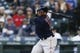 Mar 30, 2019; Seattle, WA, USA; Boston Red Sox third baseman Rafael Devers (11) hits a single against the Seattle Mariners during the first inning at T-Mobile Park. Mandatory Credit: Joe Nicholson-USA TODAY Sports