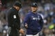 Mar 30, 2019; Seattle, WA, USA; Seattle Mariners manager Scott Servais (29) speaks with umpire Dan Bellino (2) during the second inning against the Boston Red Sox at T-Mobile Park. Mandatory Credit: Joe Nicholson-USA TODAY Sports
