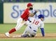 Mar 30, 2019; Arlington, TX, USA; Texas Rangers second baseman Rougned Odor (12) looks to first base after forcing out Chicago Cubs second baseman Ben Zobrist (18) during the sixth inning in a baseball game at Globe Life Park in Arlington. Mandatory Credit: Jim Cowsert-USA TODAY Sports