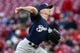 Apr 1, 2019; Cincinnati, OH, USA; Milwaukee Brewers starting pitcher Zach Davies (27) throws against the Cincinnati Reds in the first inning at Great American Ball Park. Mandatory Credit: Aaron Doster-USA TODAY Sports