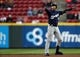 Apr 1, 2019; Cincinnati, OH, USA; Milwaukee Brewers left fielder Ryan Braun (8) reacts to hitting a double against the Cincinnati Reds in the first inning at Great American Ball Park. Mandatory Credit: Aaron Doster-USA TODAY Sports
