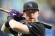Apr 2, 2019; St. Petersburg, FL, USA; Colorado Rockies shortstop Trevor Story (27) works out prior to the game against the Tampa Bay Rays at Tropicana Field. Mandatory Credit: Kim Klement-USA TODAY Sports