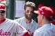 Apr 3, 2019; Washington, DC, USA; Philadelphia Phillies right fielder Bryce Harper (3) walks through the dugout during the first inning against the Washington Nationals at Nationals Park. Mandatory Credit: Tommy Gilligan-USA TODAY Sports