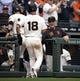 Apr 6, 2019; San Francisco, CA, USA; San Francisco Giants manager Bruce Bochy (right) reacts as San Francisco Giants Kevin Pillar (1) and Connor Joe (18) score on a double by Steven Duggar during the fifth inning of a game against the Tampa Bay Rays at Oracle Park. Mandatory Credit: D. Ross Cameron-USA TODAY Sports