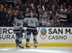 April 6, 2019; Los Angeles, CA, USA; Los Angeles Kings defenseman Matt Roy (81) celebrates with left wing Alex Iafallo (19) his goal scored against the Vegas Golden Knights during the second period at Staples Center. Mandatory Credit: Gary A. Vasquez-USA TODAY Sports