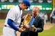Apr 10, 2019; Chicago, IL, USA; Chicago Cubs first baseman Anthony Rizzo (44) is presented with the Golden Glove award before the game against the Pittsburgh Pirates at Wrigley Field. Mandatory Credit: Jon Durr-USA TODAY Sports