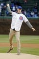 Apr 10, 2019; Chicago, IL, USA; Actor Joonas Suotamo, known for his role as Chewbacca in the Star Wars films, throws out a ceremonial first pitch before the game between the Chicago Cubs and the Pittsburgh Pirates at Wrigley Field. Mandatory Credit: Jon Durr-USA TODAY Sports
