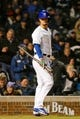 Apr 10, 2019; Chicago, IL, USA; Chicago Cubs starting pitcher Yu Darvish (11) reacts after striking out against the Pittsburgh Pirates during the third inning at Wrigley Field. Mandatory Credit: Jon Durr-USA TODAY Sports