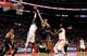 Apr 10, 2019; Los Angeles, CA, USA; LA Clippers forward Montrezl Harrell (5 and Utah Jazz center Tony Bradley (13) compete for a loose ball in the first half at Staples Center. Mandatory Credit: Kirby Lee-USA TODAY Sports