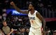 Apr 10, 2019; Los Angeles, CA, USA; LA Clippers forward JaMychal Green (4) reacts against the Utah Jazz in the first half at Staples Center. Mandatory Credit: Kirby Lee-USA TODAY Sports