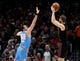 Apr 10, 2019; Portland, OR, USA; Portland Trail Blazers forward Jake Layman (10) hits a shot over Sacramento Kings forward Nemanja Bjelica (88) during the first half of the game at the Moda Center. Mandatory Credit: Steve Dykes-USA TODAY Sports