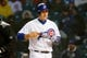 Apr 10, 2019; Chicago, IL, USA; Chicago Cubs first baseman Anthony Rizzo (44) reacts after striking out against the Pittsburgh Pirates to end the first inning at Wrigley Field. Mandatory Credit: Jon Durr-USA TODAY Sports
