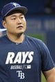 Apr 12, 2019; Toronto, Ontario, CAN; Tampa Bay Rays first baseman Ji-Man Choi (26) signs autographs during batting practice before the game against the Toronto Blue Jays at Rogers Centre. Mandatory Credit: Nick Turchiaro-USA TODAY Sports