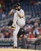 Apr 12, 2019; Washington, DC, USA; Pittsburgh Pirates pitcher Trevor Williams (34) delivers a pitch during the first inning against the Washington Nationals at Nationals Park. Mandatory Credit: Gregory J. Fisher-USA TODAY Sports