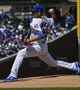 Apr 13, 2019; Chicago, IL, USA; Chicago Cubs starting pitcher Kyle Hendricks (28) delivers against the Los Angeles Angels in the first inning at Wrigley Field. Mandatory Credit: Matt Marton-USA TODAY Sports