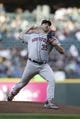 Apr 13, 2019; Seattle, WA, USA; Houston Astros starting pitcher Justin Verlander (35) throws against the Seattle Mariners during the second inning at T-Mobile Park. Mandatory Credit: Joe Nicholson-USA TODAY Sports
