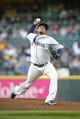 Apr 13, 2019; Seattle, WA, USA; Seattle Mariners starting pitcher Felix Hernandez (34) throws against the Houston Astros during the third inning at T-Mobile Park. Mandatory Credit: Joe Nicholson-USA TODAY Sports