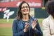 Apr 17, 2019; Oakland, CA, USA; Oakland mayor Libby Schaaf claps before the game between the Oakland Athletics and the Houston Astros at Oakland Coliseum. Mandatory Credit: Kelley L Cox-USA TODAY Sports