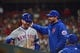 Apr 19, 2019; St. Louis, MO, USA; New York Mets first baseman Pete Alonso (20) is congratulated by manager Mickey Callaway (36) after hitting a solo run home run against St. Louis Cardinals relief pitcher Ryan Helsley (not pictured) during the sixth inning at Busch Stadium. Mandatory Credit: Jeff Curry-USA TODAY Sports