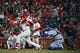 Apr 19, 2019; St. Louis, MO, USA; St. Louis Cardinals pinch hitter Lane Thomas (35) hits a two run home run during his first Major League at bat against New York Mets relief pitcher Seth Lugo (not pictured) in the sixth inning at Busch Stadium. Mandatory Credit: Jeff Curry-USA TODAY Sports