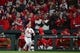 Apr 19, 2019; St. Louis, MO, USA; St. Louis Cardinals pinch hitter Lane Thomas (35) takes a curtain call after hitting a two run home run during his first Major League at bat against New York Mets relief pitcher Seth Lugo (not pictured) in the sixth inning at Busch Stadium. Mandatory Credit: Jeff Curry-USA TODAY Sports