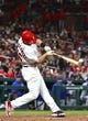 Apr 19, 2019; St. Louis, MO, USA; St. Louis Cardinals first baseman Paul Goldschmidt (46) hits a single against New York Mets relief pitcher Seth Lugo (not pictured) during the fifth inning at Busch Stadium. Mandatory Credit: Jeff Curry-USA TODAY Sports