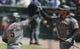 Apr 20, 2019; Chicago, IL, USA; Arizona Diamondbacks third baseman Eduardo Escobar (5) celebrates his home run against the Chicago Cubs with Diamondbacks right fielder David Peralta (6) during the first inning at Wrigley Field. Mandatory Credit: Jim Young-USA TODAY Sports