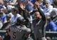 Apr 20, 2019; Chicago, IL, USA; Arizona Diamondbacks third baseman Eduardo Escobar (5) celebrates his home run against the Chicago Cubs with Diamondbacks shortstop Ketel Marte (4) during the first inning at Wrigley Field. Mandatory Credit: Jim Young-USA TODAY Sports