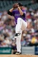 Apr 20, 2019; Denver, CO, USA; Colorado Rockies starting pitcher Antonio Senzatela (49) pitches in the first inning against the Philadelphia Phillies at Coors Field. Mandatory Credit: Isaiah J. Downing-USA TODAY Sports