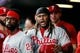 Apr 20, 2019; Denver, CO, USA; Philadelphia Phillies third baseman Maikel Franco (7) reacts in the dugout after scoring on a play in the third inning against the Colorado Rockies at Coors Field. Mandatory Credit: Isaiah J. Downing-USA TODAY Sports