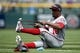 Apr 24, 2019; Denver, CO, USA; Washington Nationals center fielder Victor Robles (16) stretches before the game against the Colorado Rockies at Coors Field. Mandatory Credit: Isaiah J. Downing-USA TODAY Sports