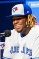Apr 26, 2019; Toronto, Ontario, CAN; Toronto Blue Jays Vladimir Guerrero Jr. speaks at a press conference before making his MLB debut against the Oakland Athletics at Rogers Centre. Mandatory Credit: Kevin Sousa-USA TODAY Sports