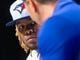 Apr 26, 2019; Toronto, Ontario, CAN; Toronto Blue Jays player Vladimir Guerrero Jr. listens to his translator at a press conference before making his MLB debut against the Oakland Athletics at Rogers Centre. Mandatory Credit: Kevin Sousa-USA TODAY Sports