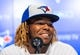 Apr 26, 2019; Toronto, Ontario, CAN; Toronto Blue Jays player Vladimir Guerrero Jr. smiles at a press conference before making his MLB debut against the Oakland Athletics at Rogers Centre. Mandatory Credit: Kevin Sousa-USA TODAY Sports