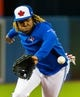 Apr 26, 2019; Toronto, Ontario, CAN; Toronto Blue Jays player Vladimir Guerrero Jr. chases a ball during batting practice before playing against the Oakland Athletics at Rogers Centre. Mandatory Credit: Kevin Sousa-USA TODAY Sports