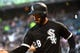 Apr 26, 2019; Chicago, IL, USA; Chicago White Sox center fielder Leury Garcia (28) reacts after scoring a run against the Detroit Tigers during the first inning at Guaranteed Rate Field. Mandatory Credit: Mike DiNovo-USA TODAY Sports