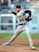 April 27, 2019; Los Angeles, CA, USA; Pittsburgh Pirates starting pitcher Joe Musgrove (59) throws against the Los Angeles Dodgers during the second inning at Dodger Stadium. Mandatory Credit: Gary A. Vasquez-USA TODAY Sports
