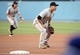 April 27, 2019; Los Angeles, CA, USA; Pittsburgh Pirates third baseman Jung Ho Kang (16) in position at third against the Los Angeles Dodgers during the second inning at Dodger Stadium. Mandatory Credit: Gary A. Vasquez-USA TODAY Sports