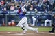 Apr 27, 2019; Seattle, WA, USA; Texas Rangers shortstop Elvis Andrus (1) hits a three-run home run against the Seattle Mariners during the first inning at T-Mobile Park. Mandatory Credit: Jennifer Buchanan-USA TODAY Sports